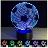 3D Night Light Lamp, Soccer Ball 3D Illusion Night Light LED Desk Lamp 3D Light Art Sculpture Night Light for Home Office Kids