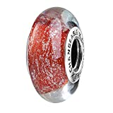 Women Fashion Charms Big Hole Dia. 4mm Lampwork Murano Glass Beads Multi Colors Selection Solid 925 Sterling Silver 8mm X 14 mm Polish Thread for European Bracelets 06-P