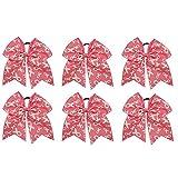 GOGO Pink Ribbon Printed Cheer Bow, Breast Cancer Awareness Hair Bows