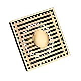 HARPOON Square Shower Floor Drain Washing Machine Bathroom Filter Removable Cover 4-inch Sink Drain, Brass Antique