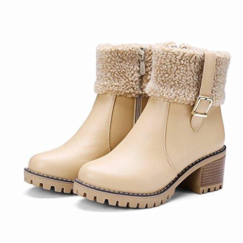 Charm Foot Mujeres Comfort Chunky Tacón Medio Cremallera Botas Cortas Albaricoque