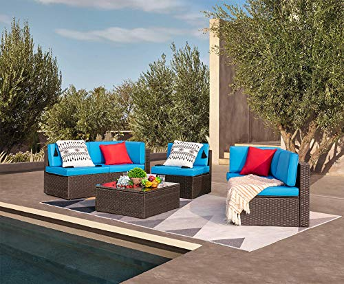 Devoko Patio Furniture Sets 6 Pieces Outdoor Sectional Rattan Sofa All-Weather Manual Weaving Wicker Patio Conversation Set with Glass Table and Cushion (Blue)
