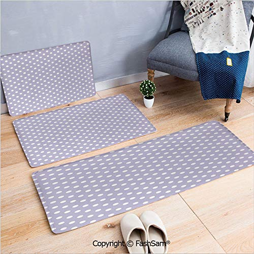 FashSam 3 Piece Flannel Bath Carpet Non Slip Old Style Polka Dots Like Little Moons Modern Era Features Dated But New Theme Front Door Mats Rugs for Home(W15.7xL23.6 by W19.6xL31.5 by W35.4xL62.9) (Era New Arsenal)