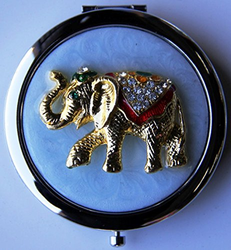 Purse Handbag Double Compact Cosmetic Mirror - Jeweled Elephant (Jeweled Compact Mirror)