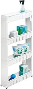 mDesign Portable Slim Plastic Rolling Laundry Utility Cart, Storage Organizer Trolley - Easy-Glide Wheels and 4 Heavy-Duty Shelves, for Laundry, Utility Room, Kitchen or Pantry Storage - White
