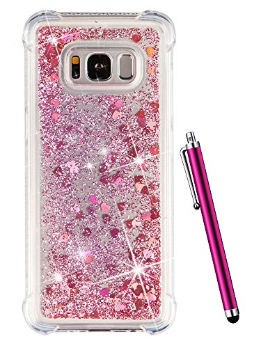 Galaxy S8 Case Glitter, CAIYUNL Sparkle Bling Floating Liquid Cute Clear Shockproof Slim Silicone TPU Luxury Cover Protective Phone Cases Bumper for Samsung Galaxy S8 Case for women &Stylus- ()