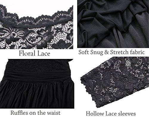Party DILANNI Floral Dress Women's Black Shoulder Tube Cocktail Size Plus Lace Off 8q48Frw