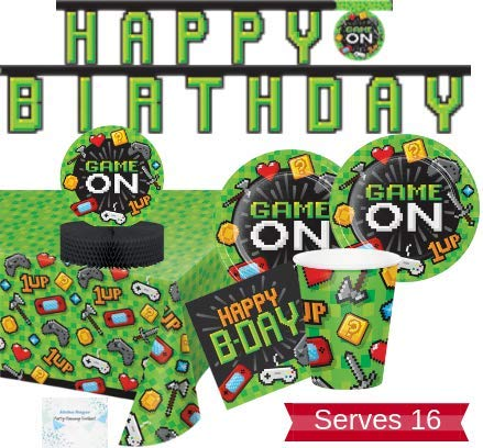 Video Game Party Supplies and Decorations - Video Game Party Plates Napkins Cups for 16 People - Includes Banner, Tablecloth and Centerpiece - Perfect Video Gaming Birthday Party Decorations!