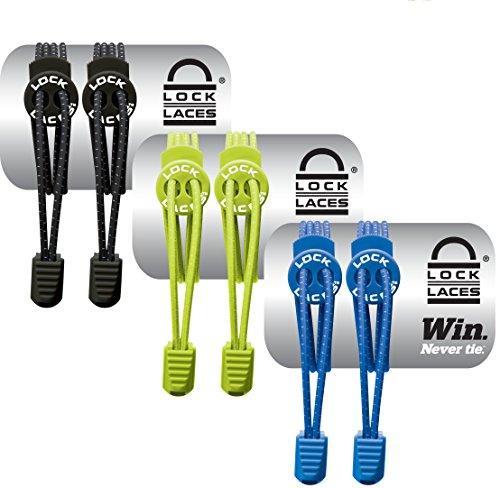 Lock Laces (Elastic No Tie Shoe Laces (Pack of 3) (Black-Green-Blue)