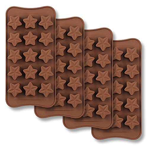 homEdge 15-Cavity Star Shaped Chocolate Mold, Set of 4PCS Non Stick Food Grade Silicone Mold for Candy Chocolate Jelly, Ice Cube