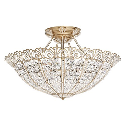 Schonbek 9845-22 Swarovski Lighting Tiara Semi Flush Mount, Heirloom Gold