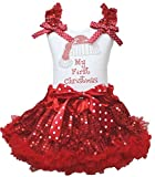Christmas Dress Santa Claus Hat White Shirt Red Sequin Skirt Girl Clothing 1-8y (4-5year)