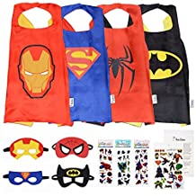 Superhero Costumes For Kids (4 Masks, 4 Capes, Stickers and Tattoos) - Batman, Spiderman, Iron man and Superman)