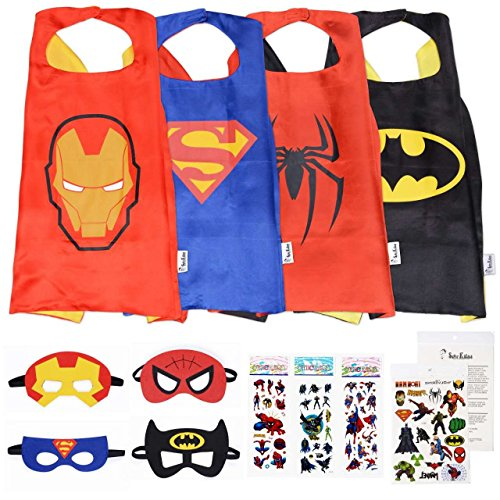 Super Kiddos Superhero Cape and Mask Costumes for Kids Set-Capes, Masks Stickers and (Kids Ironman Suit)
