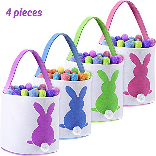 - Blulu 4 Pieces Easter Bunny Basket Bags Canvas Gift Basket with Fluffy Tail for Kids Party Decoration and Daily Use