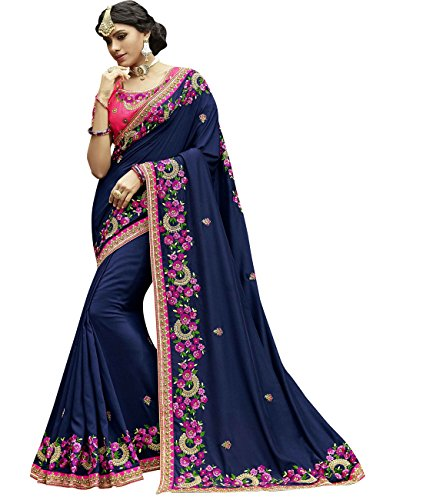 Exclusive Indian Ethnicwear Wedding Faux Georgette Indigo Coloured Fancy Saree by Maahir Garments