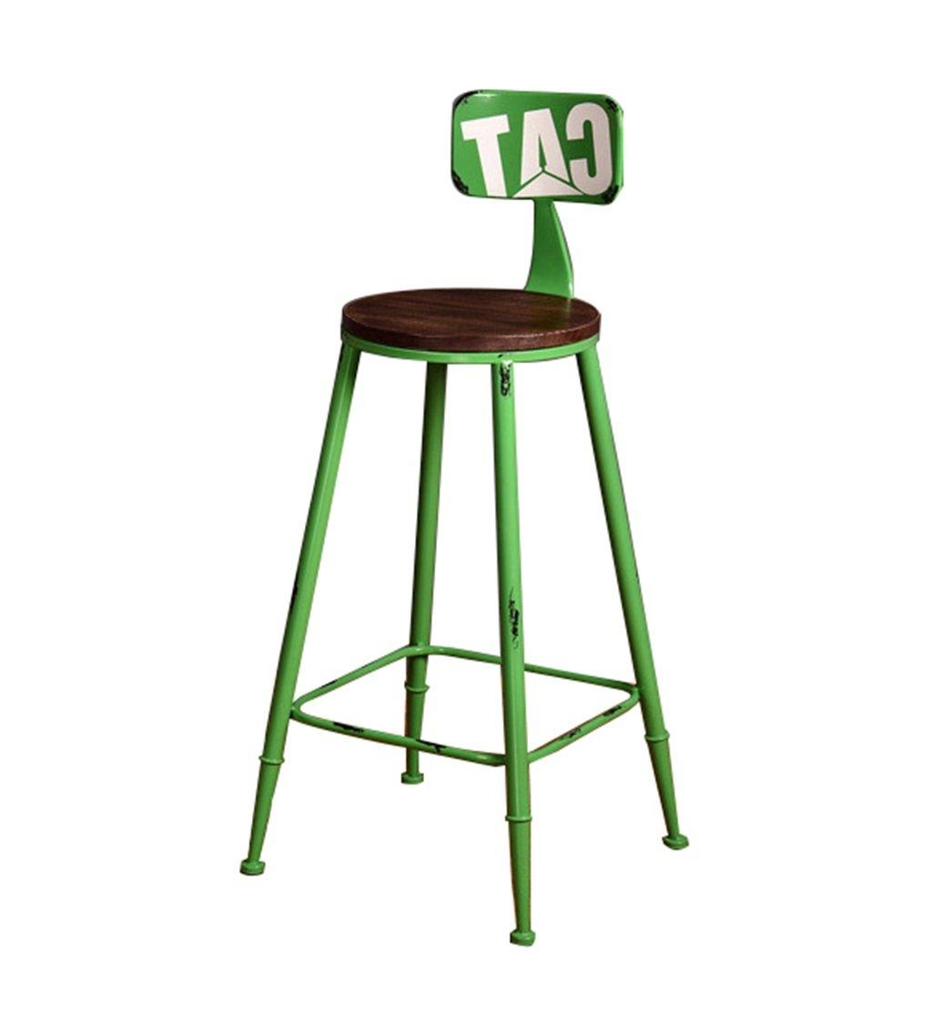 高いスツールバーキッチンダイニングチェア朝食用スツール|背もたれ付き高さ調節椅子リラックスシートヴィンテージバースツールレトロインダストリアルデザイン (色 : Green, サイズ さいず : 75cm) B07F9QMW2Q 75cm|Green Green 75cm