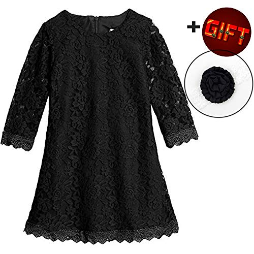 Lace Flower Girl Dress Black Elegant Bridesmaid Dress Wedding Party Fall Holiday Pageant Girl Dress Formal Ball Gowns Long Sleeve Knee Length Christmas Easter -