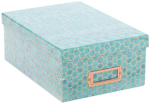 American Crafts Photo Boxes Blue Hexagon Foil Die Cuts with a View