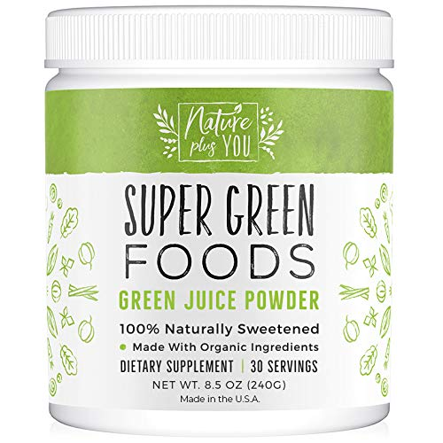 Superfood Greens Powder: Made with Organic Ingredients and 100% Natural Sweeteners, with Spirulina, Alfalfa, Spinach, Acai, Probiotics and Digestive Enzymes, 30 Servings by Nature Plus You