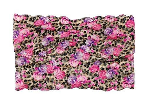 Lace Bra Leopard (Victoria's Secret Pink Lace Bandeau Bra Medium Leopard Floral Long Line)