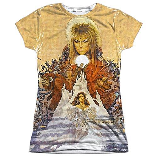 Labyrinth Family Fantasy Adventure Movie Cover Art Junior Front Print T-Shirt (Cover Art T-shirt)