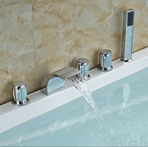 Polished chrome Roman waterfall hot tub shower rooms with bath fillers, glass frames of Mount Bridge mixer