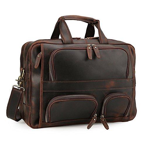 Tiding Men's 17 inch Cowhide Leather Messenger Bag Laptop Business Briefcase Travel Shoulder Bag
