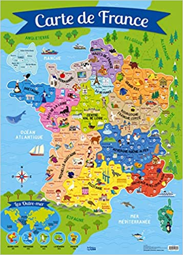 carte ocean atlantique france Poster Carte de France: 9782244113074: Amazon.com: Books