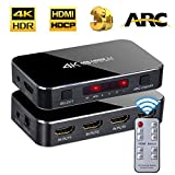 FERRISA 4x1 HDMI Switch,4K@60Hz HDMI Switch with Remote Control,4 in 1 Out HDMI Switcher with Audio Optical,Support HDCP HDMI 2.0,ARC,1080P 3D for DVD PS3 PS4 Xbox