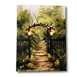 Banberry Designs Garden Pathway Lighted Print - LED Canvas Print with Country Scene - Lights in the Black Lanterns - Artwork