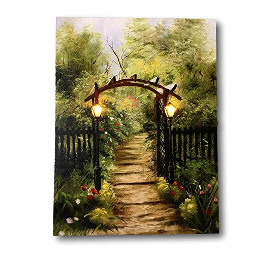 Banberry Designs Garden Pathway Lighted Print - LED Canvas Print with Country Scene - Lights in the Black Lanterns - (Flower Garden Art Painting)