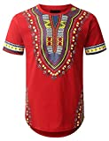 URBANCREWS Mens Hipster Hip Hop Dashiki Graphic Longline T-Shirt RED Medium
