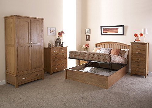 Madrid 4ft6 Double Wooden Ottoman Bed - Oak by Right Deals UK