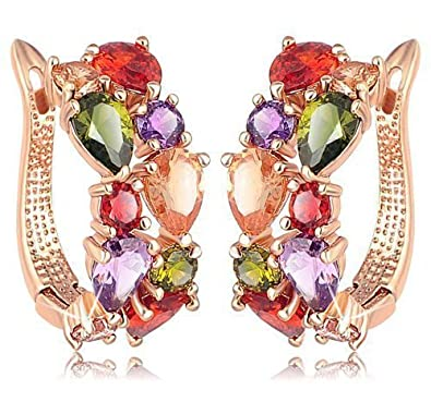 e2bd6f3d2 Fasherati Colorful Zircon floral stunningly Crystal Stud Earrings for  Girls: Amazon.in: Jewellery