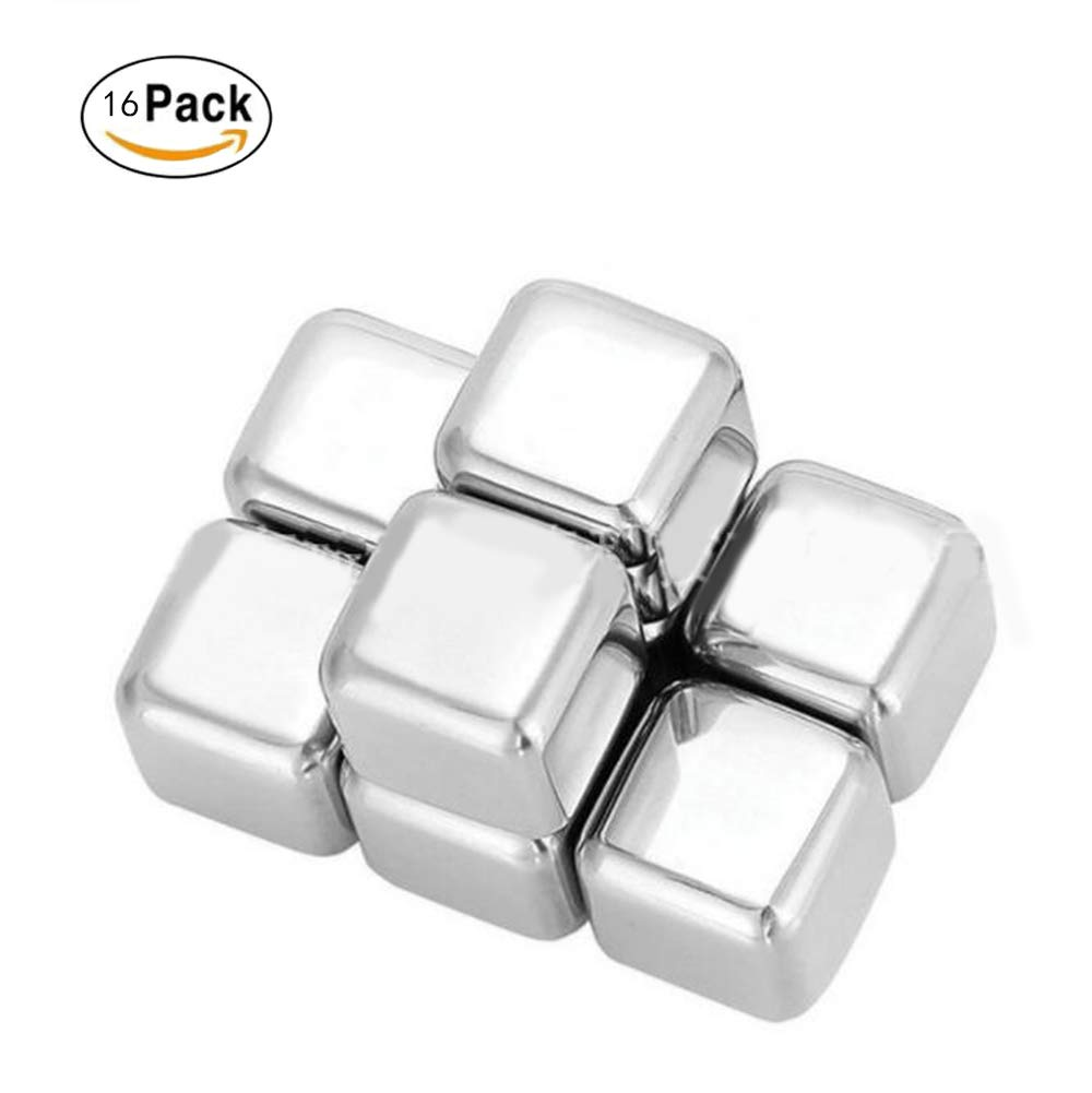 Whiskey Stones Ice Cubes B&T Stainless Steel Reusable Ice Cubes Beer, Beverage- FDA approved (Set of 16) by BT
