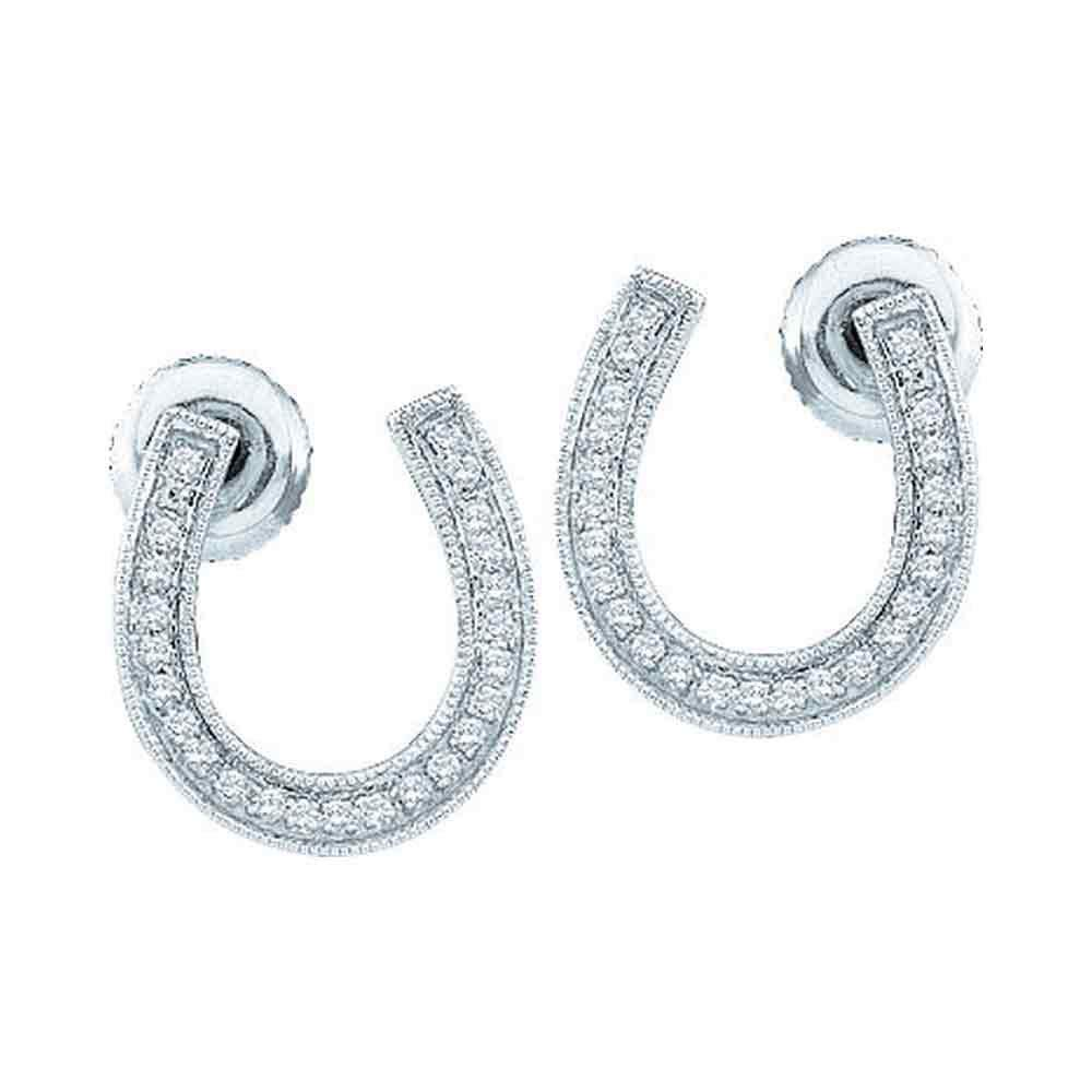 10k White Gold Diamond Womens Horseshoe Lucky Screwback Stud Earrings 1//6 Cttw Saris and Things GD 41236