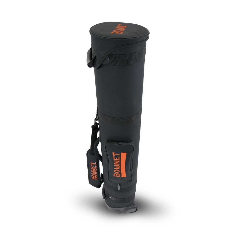 BowNet Wheeled Travel Tube Carry Bag w/ Strap, Black/Orange. BOW-Travel Tube B
