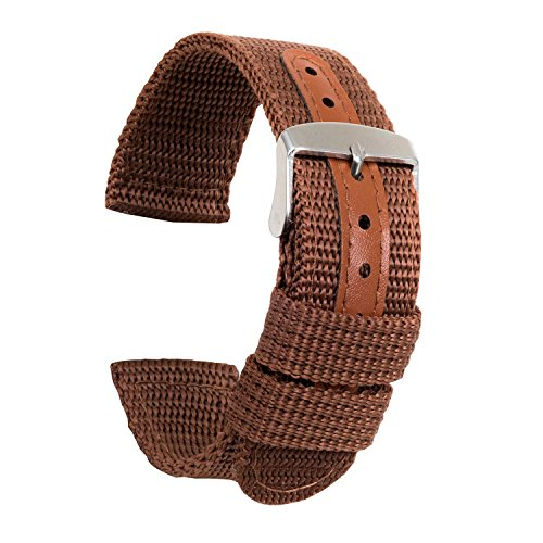 (Ullchro Nylon Watch Strap Replacement Canvas Watch Band Military Army Men Women - 18mm, 20mm, 22mm, 24mm Watch Bracelet with Stainless Steel Silver Buckle (20mm, Brown))
