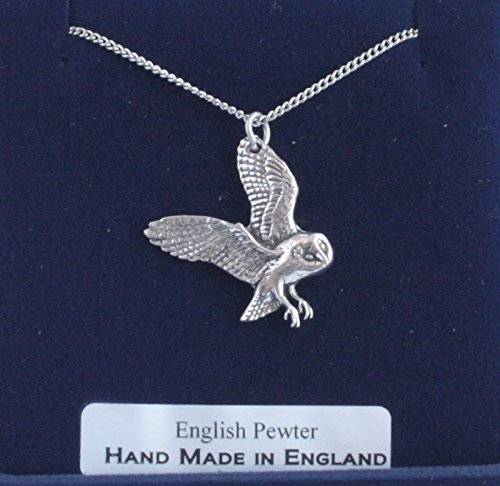 Fine English Pewter Barn Owl Charm with Chain (Gift Boxed) (Charm Barn Owl)