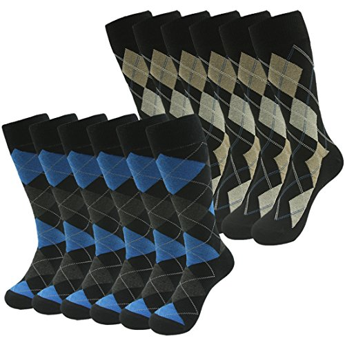 Wedding Groomsmen Socks, SUTTOS Men's Classic Cotton Argyle Dress Socks Crew Socks,Crazy Comfort Elite Blue Yellow Black Argyle Nordic Colorful Striped Suit Dress Socks Cool Design Mid Calf Casual Dress Socks School Team Gift Socks,12 Pairs by SUTTOS