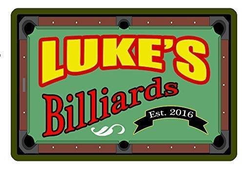 Nat999Lily Personalized Metal Sign Your Name Billiards Custom Sign Durable 12x18 -