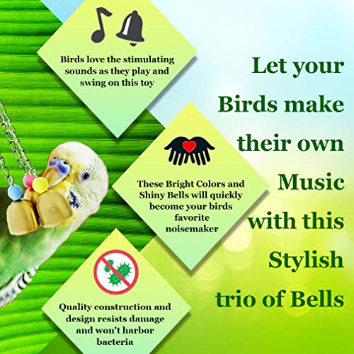 Image of Bell Bird Toy (1 Piece) - Lightweight Galvanized Steel Bell for Parrots, Cockatiels, Conures and Lovebirds - Securely Hangs from Center of Bird Cage - Charming and Entertaining Jingle Bell Sound