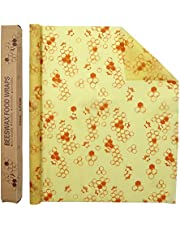 LELE LIFE Reusable Beeswax Food Wraps, Large Size 39.4×13in, Washable Wax WrapBees Wrap for Food and Covering Bowls, Beeswax Wraps Wax Cloth Food Wrap for Bread, Cheese, Sandwich