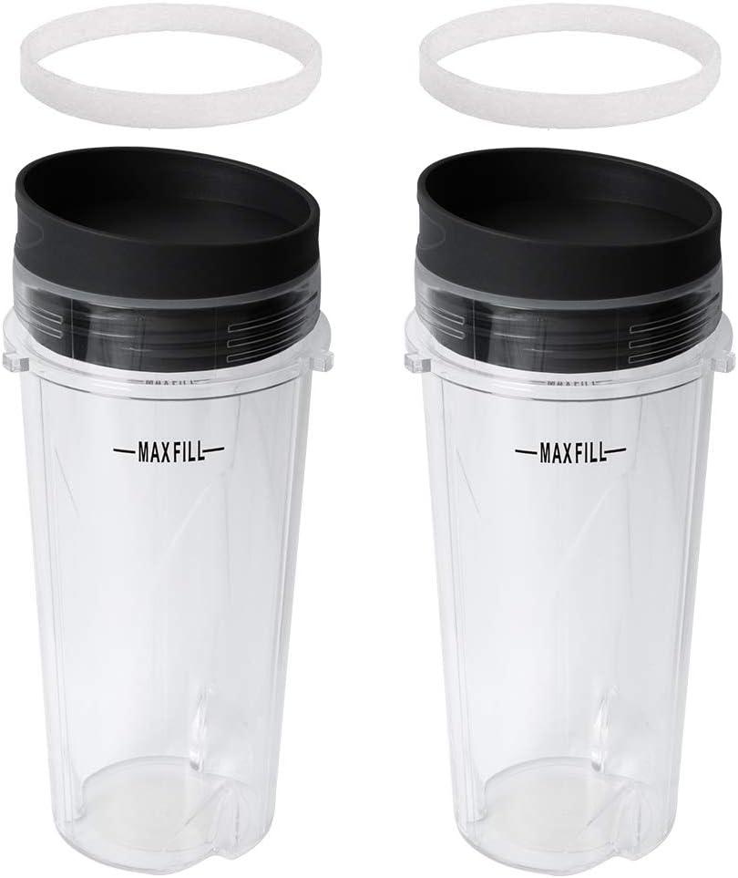 Gekufa 16oz Blender Cup with Lid & Gasket Fit for Nutri Ninja Kitchen System Pulse Blender BL200 BL201 BL203 BL204 BL205 BL206 BL207 BL208