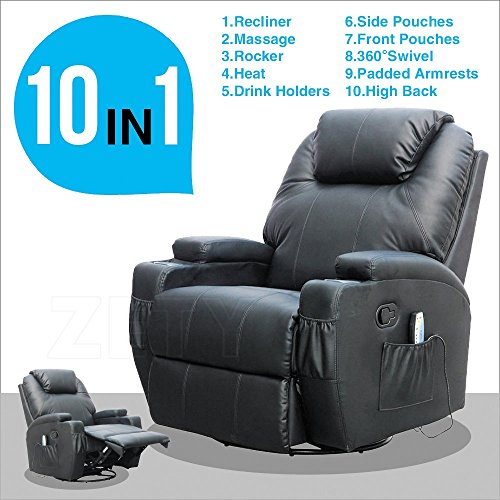 MSG Massage Recliner Leather Sofa Chair Ergonomic Lounge Swivel Heated with Control Black - Black Leather Recliner Rocker