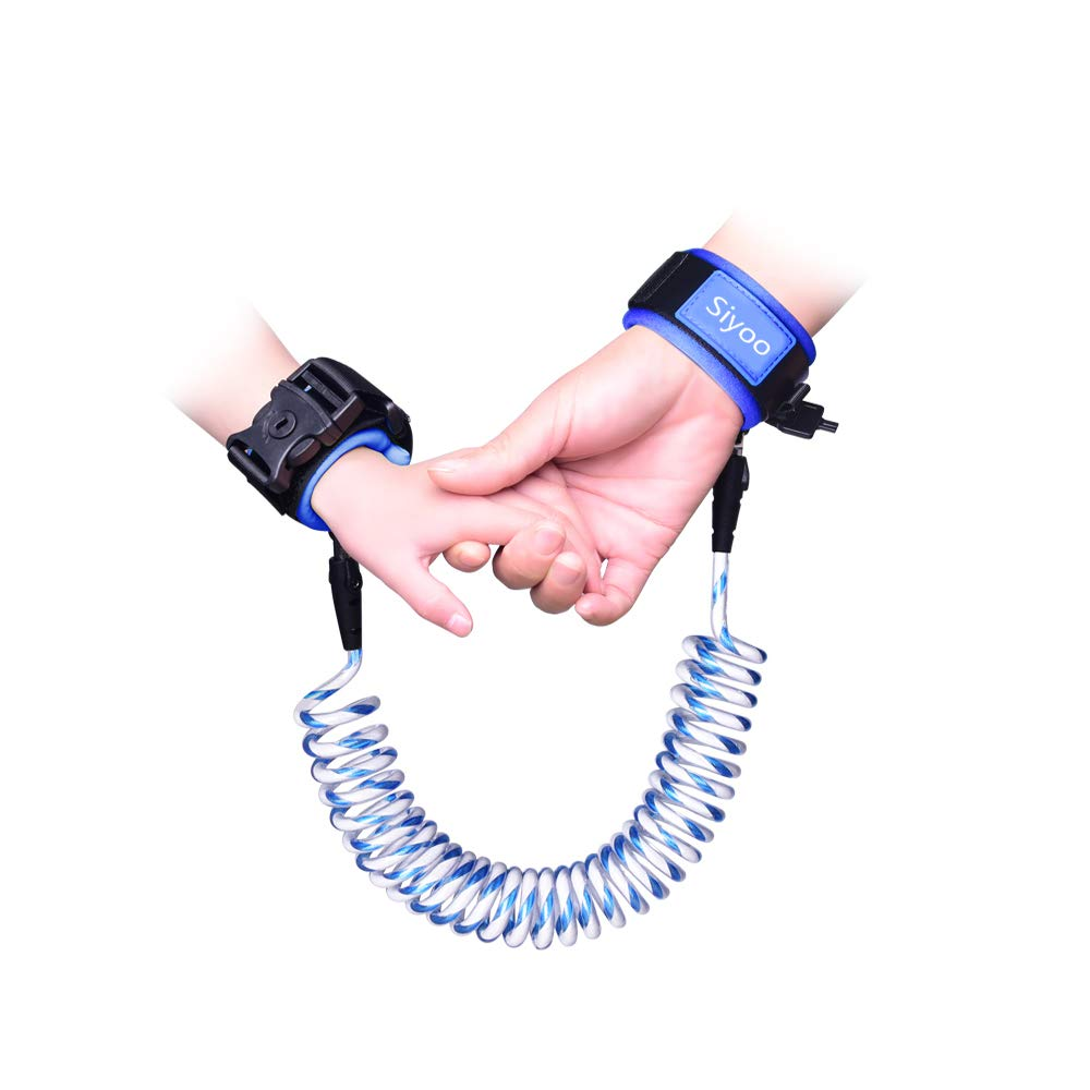 Reflective Anti Lost Wrist Link with Child Lock, Siyoo Toddler Child Harness Leash for Outdoor Activities, Shopping, Pack of 2 (4.92ft Green & 8.2ft Blue) Siyoo Direct