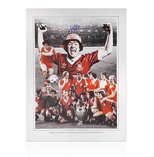 John Robertson Nottingham Forest Signed Photo - 1980 European Cup Final - Autographed Soccer Photos