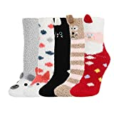 5 Pack Women Girls 3D Cute Animals Slipper Slipping Winter Crew Fuzzy Socks,Christmas Gift Value Pack