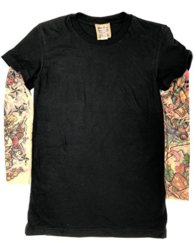 d48fc4f57 Wild Rose Lady Luck Ladies Tattoo Sleeve Shirt Cowgirl Vegas Lucky, Black  (S)
